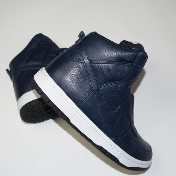 NIKE x SACAI Navy Blue Leather High Tops Sneakers